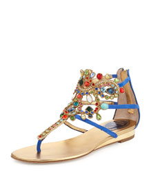 Crystal-Chandelier Thong Sandal, Bluette/Multi