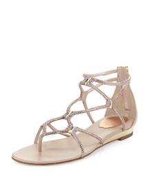 Crystal Gladiator Sandal, Beige/Vintage Rose