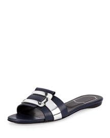 Pilgrim Jour Leather Flat Slide Sandal, Blue/Silver