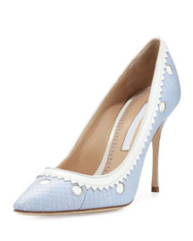 Plataia Snakeskin Pointed-Toe Pump, Light Blue/White