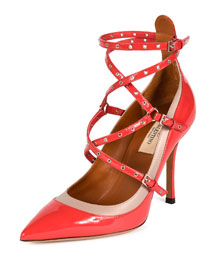 Strappy Rockstud Ankle-Wrap Pump, Fragola/Poudre