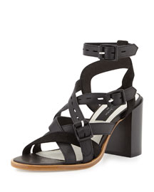 Leith Leather City Sandal, Black