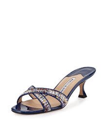 Callamu Tweed Crisscross Slide Sandal, Navy