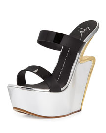 Metallic Platform Wedge Sandal, Nero