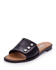 New Stud Flat Leather Mule, Black (Noir)