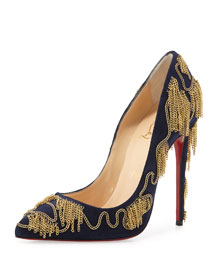 Dolly Party Chain-Detail Red Sole Pump, Nuit/Gold