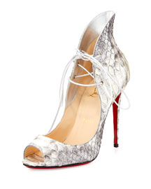 Mega Vamp Python Lace-Up Red Sole Pump, Gray
