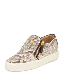 Python-Embossed Slip-On Sneaker, Naturale/Oro