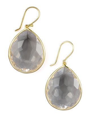 Large Teardrop Earrings, Clear Quartz