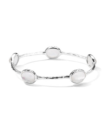 Five-Stone Bangle in Clear Quartz