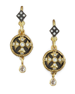 Armenta Cross Button-Drop Earrings