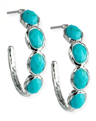 Four-Stone Hoop Earrings