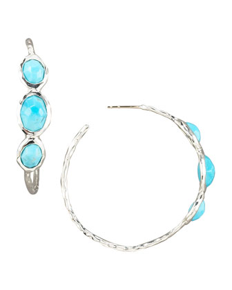 Three-Stone Hoop Earrings