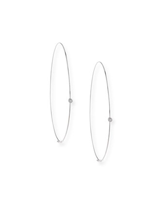 Large Magic Diamond Hoops, White Gold