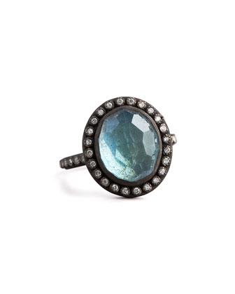 Labradorite & Pave Diamond Ring