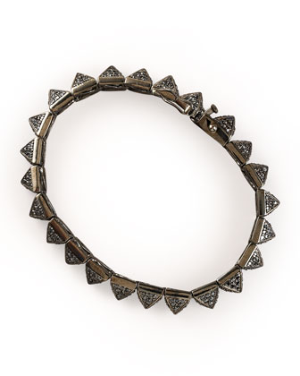 Small Pave Pyramid Bracelet, Gunmetal