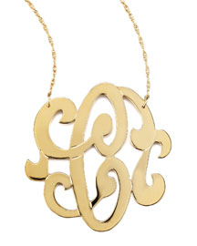 Swirly Initial Necklace, C