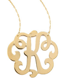 Swirly Initial Necklace, K