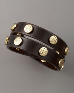 Tory Burch Logo-Studded Bracelet, Brown