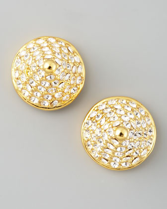 Pave Crystal Cone-Stud Earrings, Yellow Gold