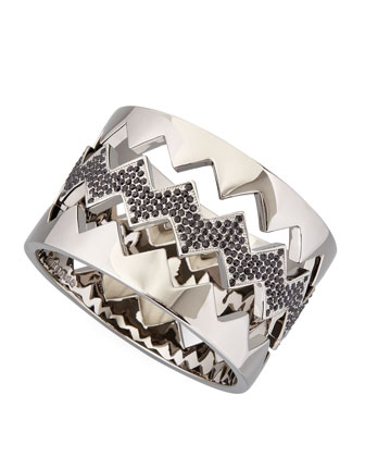 Bear-Trap Bangle Set, Gunmetal Pave