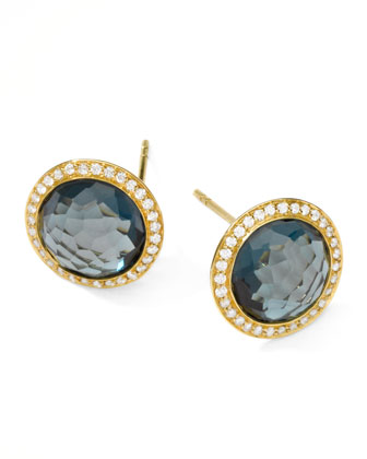 Rock Candy 18k Gold Lollipop Diamond Stud Earrings, London Blue Topaz