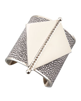 Paige Novick Maud Stingray Leather & Metal Cuff