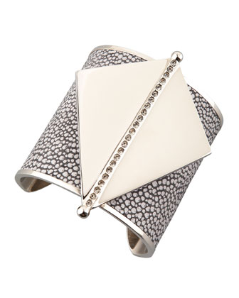 Maud Stingray Leather & Metal Cuff
