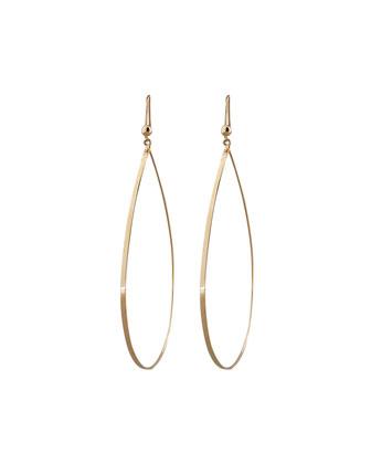 Gold Flat Teardrop Earrings, Large