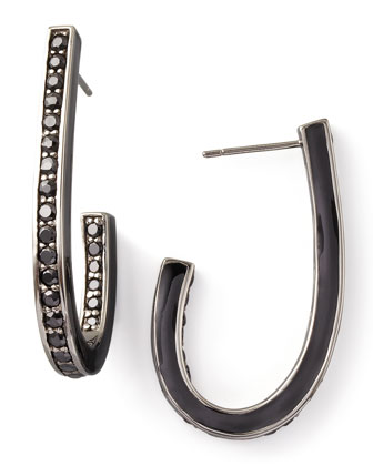 Black Spinel J Hoop Earrings