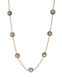 Rose Smoky Quartz Station Necklace, 18