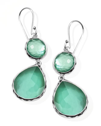 Mini Mother-of-Pearl Wonderland Teardrop Earrings, Mint