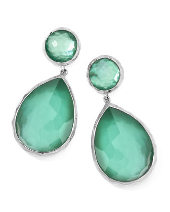 Large Mother-of-Pearl Wonderland Teardrop Earrings, Mint