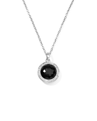 Lollipop Diamond Bezel Onyx Pendant Necklace