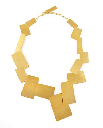Hammered Gold Geometric Necklace