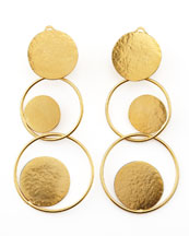 Herve Van Der Straeten Hammered Gold Circle Drop Earrings