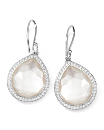 Stella Teardrop Earrings in Mother-of-Pearl Doublet with Diamonds, 1