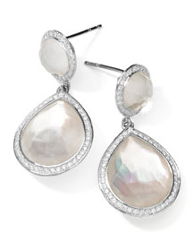 Stella 2-Stone Drop Earrings in Mother-of-Pearl Doublet with Diamonds
