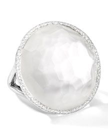 Stella Large Lollipop Ring in Mother-of-Pearl Doublet with Diamonds