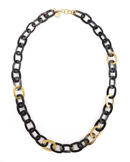 Ashley Pittman Bronze & Horn Link Necklace