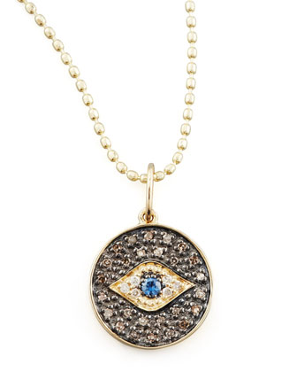 Small Diamond Evil Eye Medallion Necklace