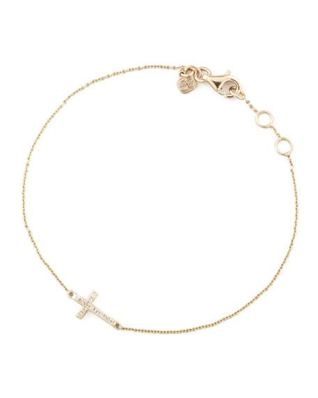 Small Gold Pave Diamond Cross Bracelet