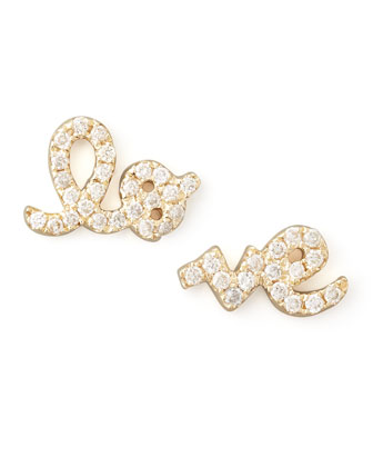 Yellow Gold Diamond Love Stud Earrings