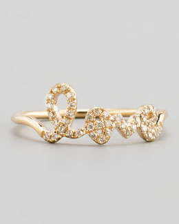 Sydney Evan 14k Yellow Gold Diamond Love Script Ring