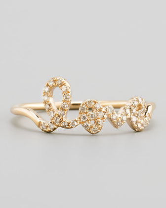 14k Yellow Gold Diamond Love Script Ring