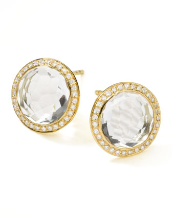 18K Gold Lollipop Stud Earrings, Clear Quartz with Diamonds