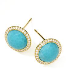 Gold Rock Candy Lollipop Diamond Turquoise Stud Earrings
