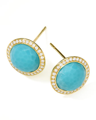 Gold Rock Candy Lollipop Diamond Turquoise Stud Earrings