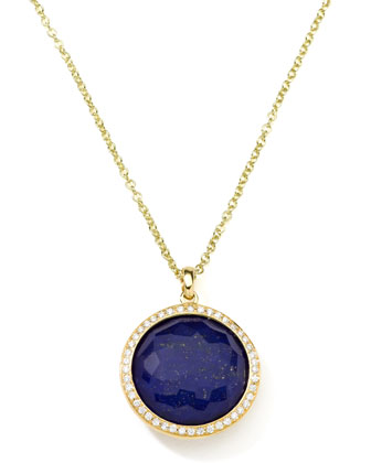 Gold Rock Candy Lollipop Diamond Lapis Pendant Necklace
