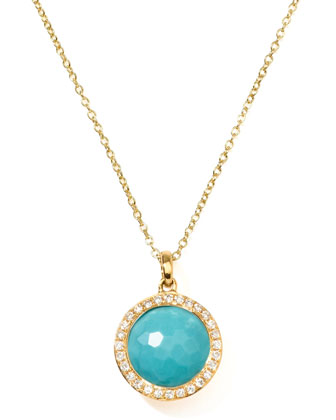18k Gold Rock Candy Mini Lollipop Diamond Turquoise Necklace